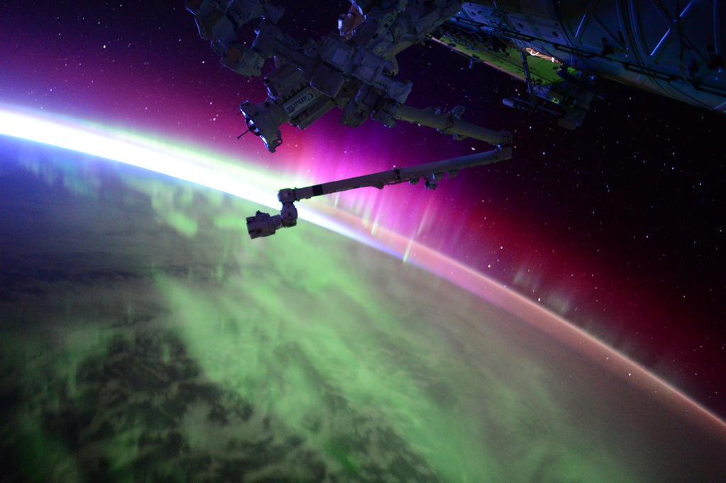 Espectáculo de colores en el espacio