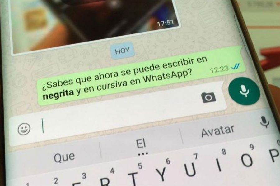 Whatsapp lanza mensajes en negrita y cursiva