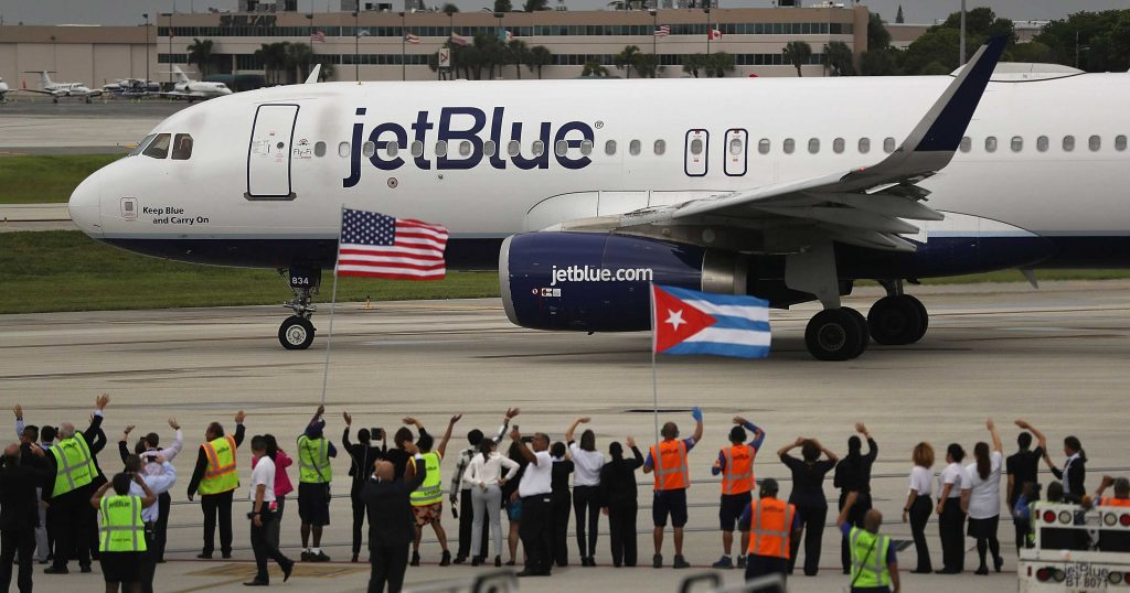 FORT LAUDERDALE, FL - AUGUST 31: Workers and officials watch as JetBlue Flight 387 prepares for take off as it becomes the first scheduled commercial flight to Cuba since 1961 on August 31, 2016 in Fort Lauderdale, Florida. JetBlue which hopes to have as many as 110 daily flights is the first U.S. airline to resume regularly scheduled airline service under new rules allowing Americans greater access to Cuba. Joe Raedle/Getty Images/AFP