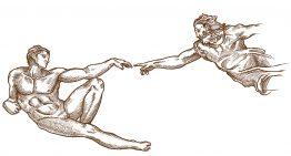 Miguel Ángel y el panel de la creación del hombre